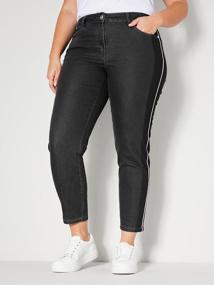 Sara Lindholm Jeans mit seitlichem Streifen, Anthrazit