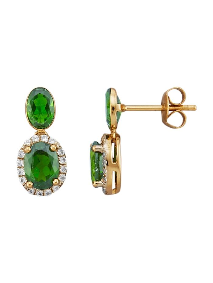 Amara Pierres colorées Boucles d'oreilles avec diopsides de chrome et saphirs, Vert