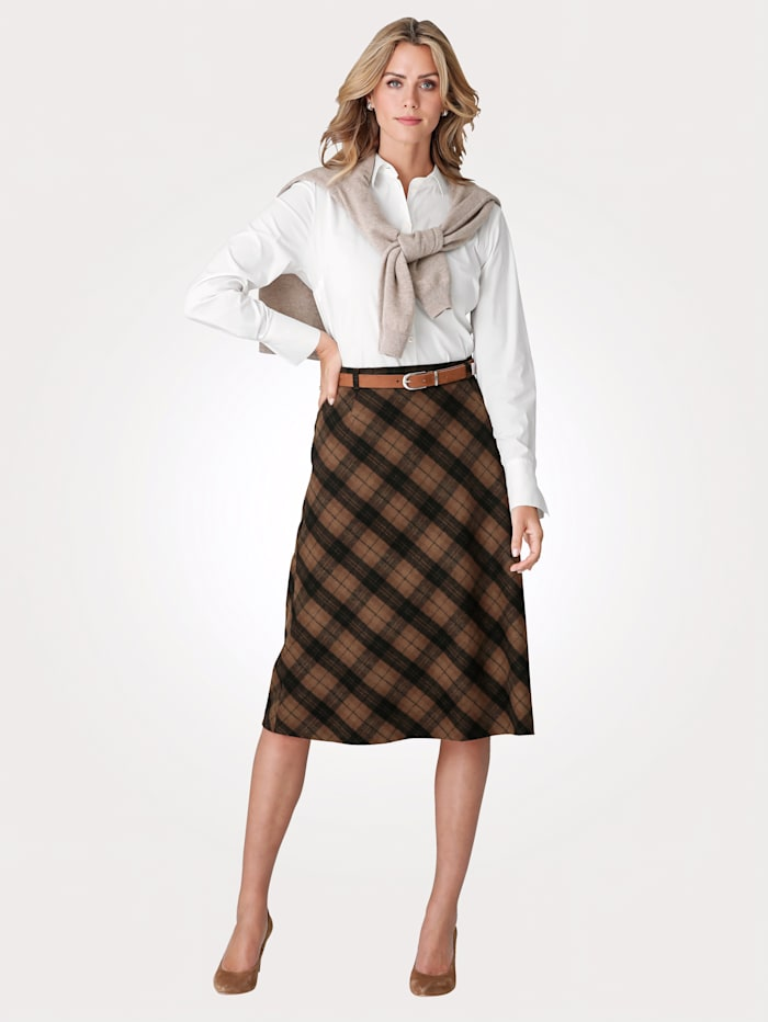 MONA Skirt with a check pattern, Camel/Brown