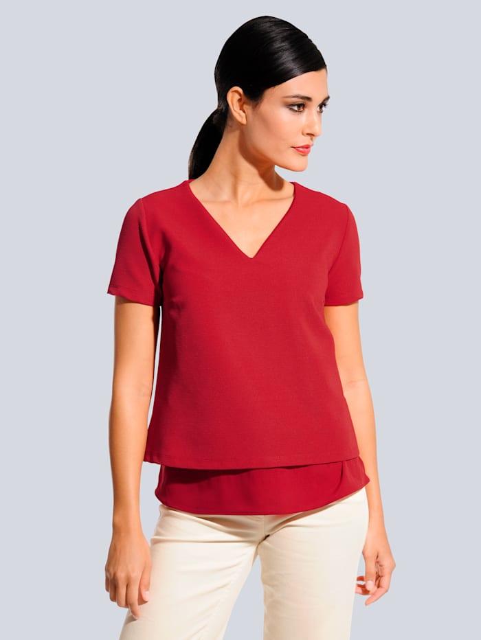 Alba Moda T-shirt à effet superposé, Rouge