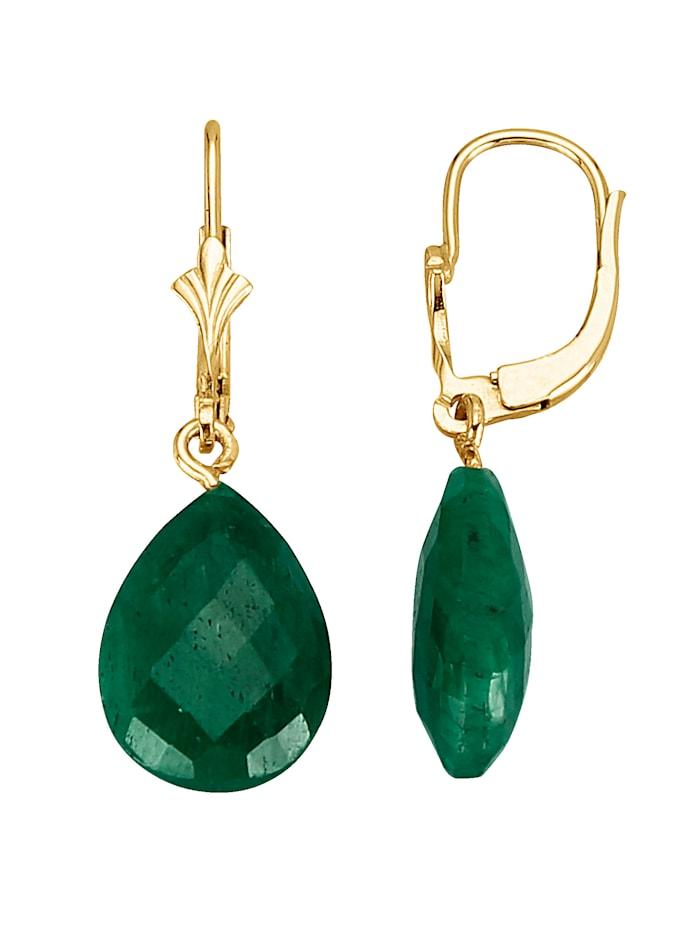 Örhängen med droppformad smaragd, Grön