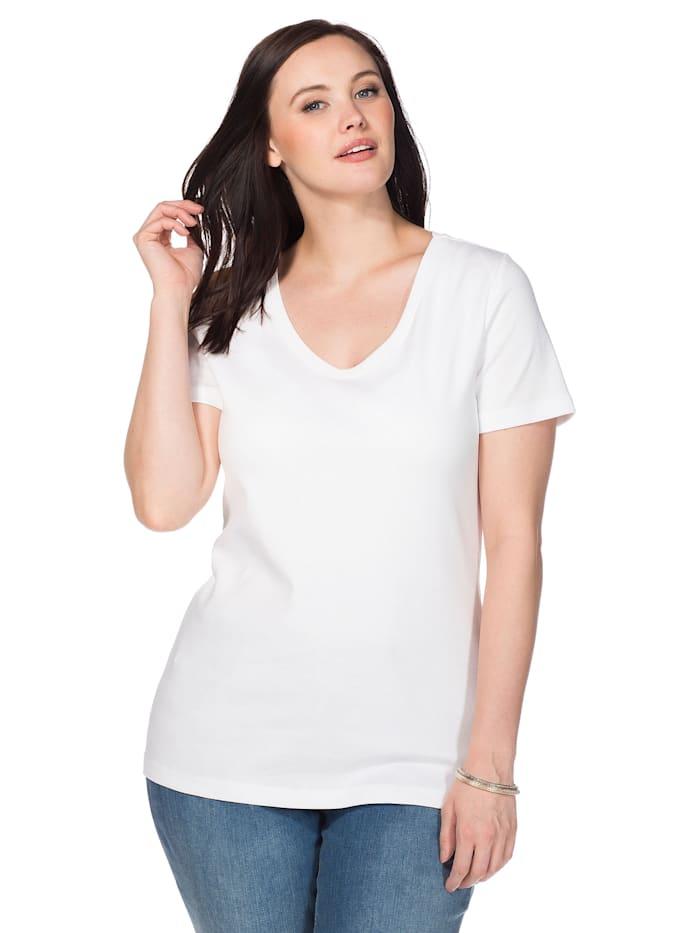 Sheego Sheego T-Shirt mit V-Ausschnitt, weiß