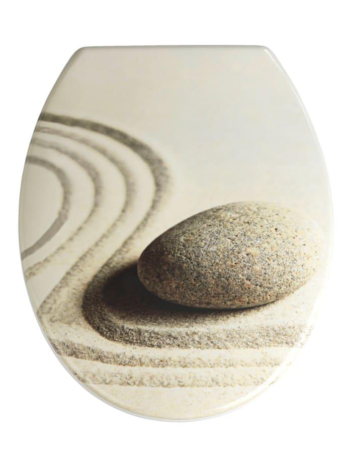 Wenko WC-Sitz Sand and Stone, Mehrfarbig, Befestigung: Silber matt