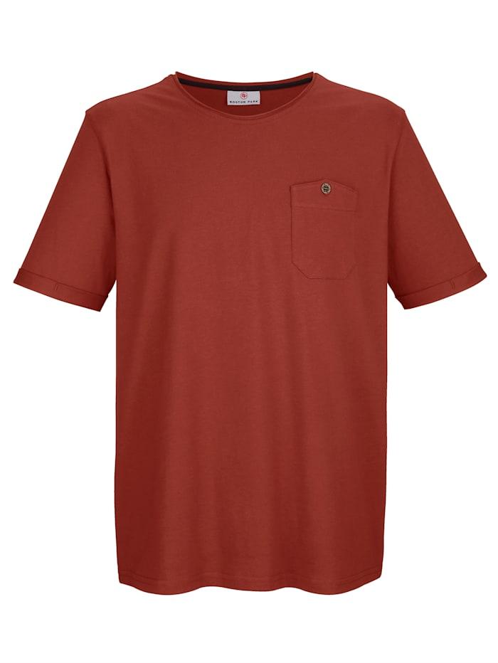 Boston Park T-shirt met ronde hals met rolrandje, Roest