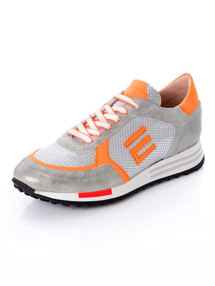 CINQUE Sneaker aus Kalbsbruchleder, Silberfarben/Neonorange