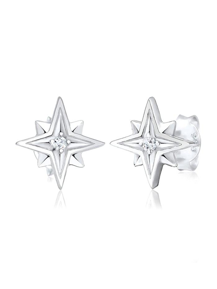 Elli Ohrringe Sterne Astro Topas Edelstein 925 Sterling Silber, Silber