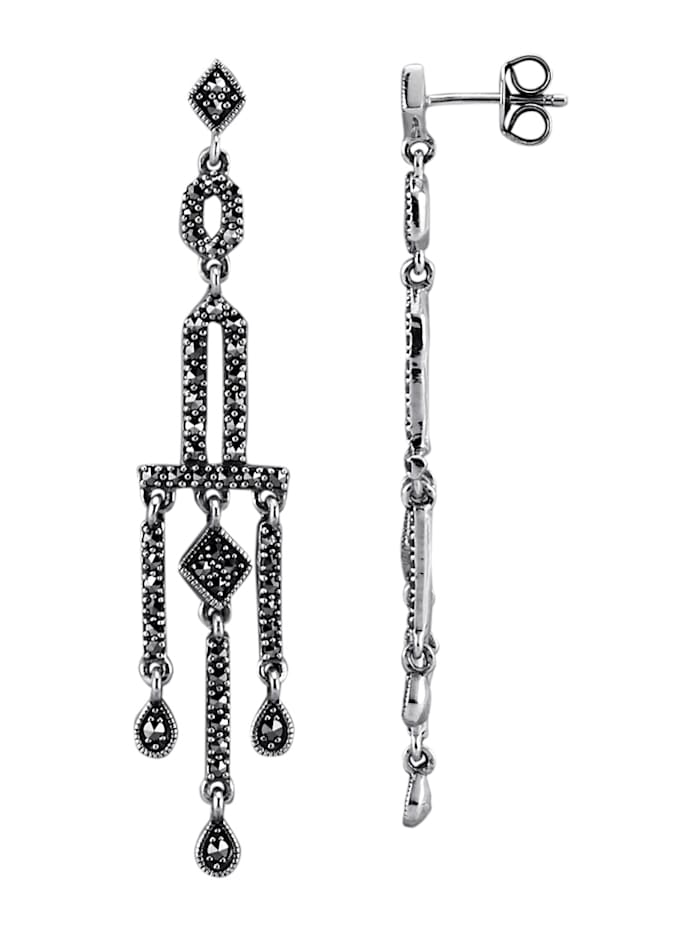 Esse Ohrringe mit Markasiten, Grau