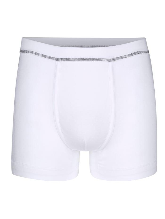 Boxers par lot de 3 avec coutures flatlock contrastantes, Bordeaux/Blanc