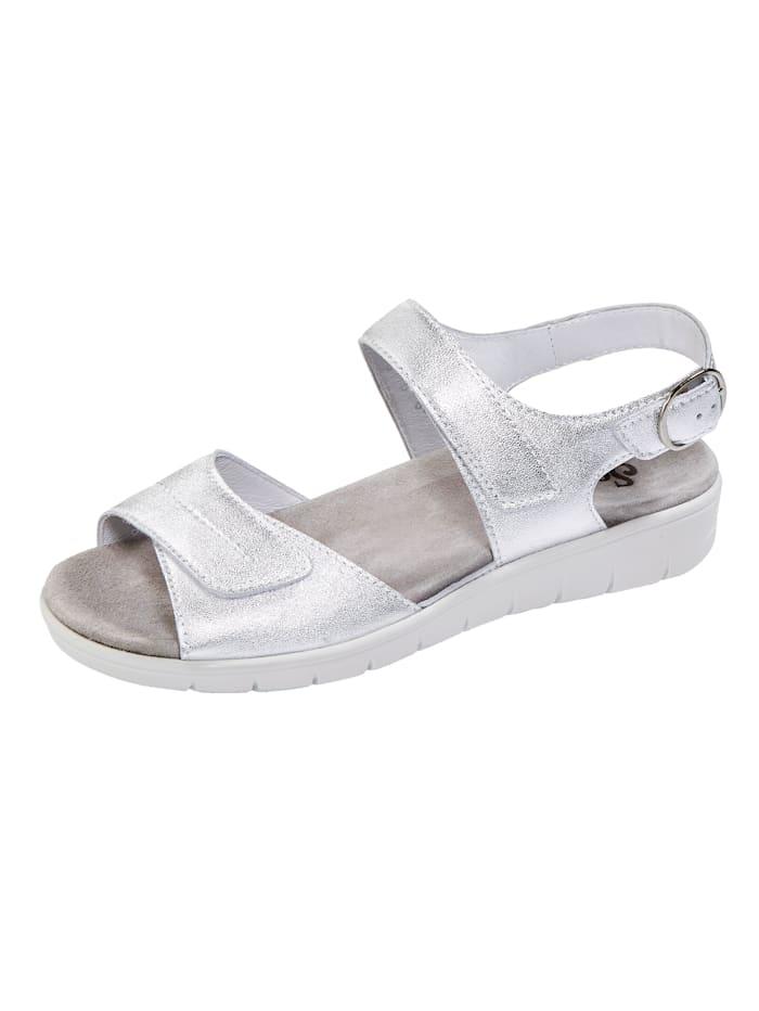 Semler Sandale mit Luftpolsterlaufsohle, Silbergrau