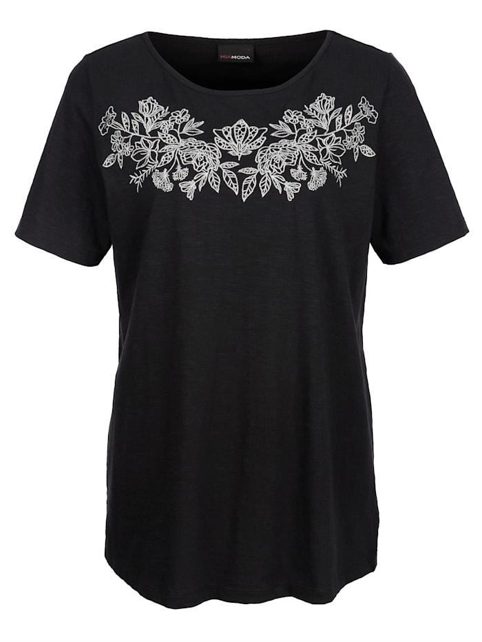 MIAMODA Shirt mit silberfarbener Stickerei im Vorderteil, Schwarz