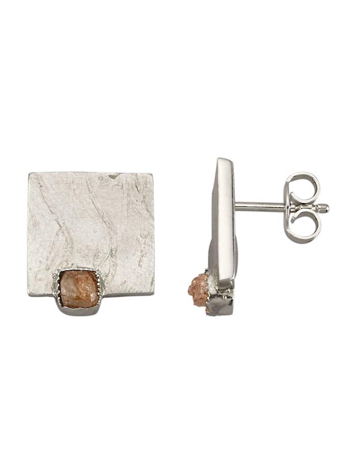 Amara Atelier Boucles d'oreilles avec 2 diamants bruts, Coloris argent