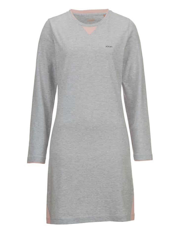 JOOP! Nachthemd met trendy contrastinzetten, Grijs