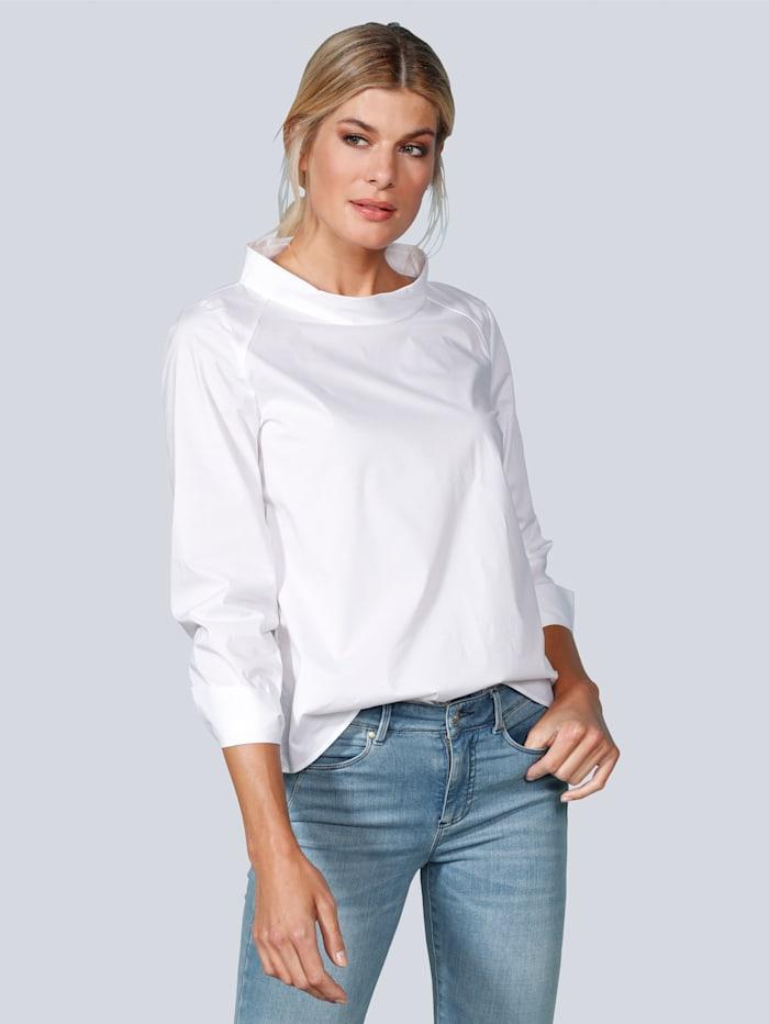 BRAX Bluse mit kleinem Stehkragen, Weiß