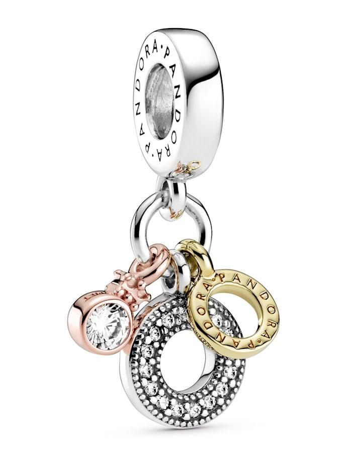 Pandora Charm-Anhänger - Dreifacher Monogramm & Logo - 799044C01, Silberfarben