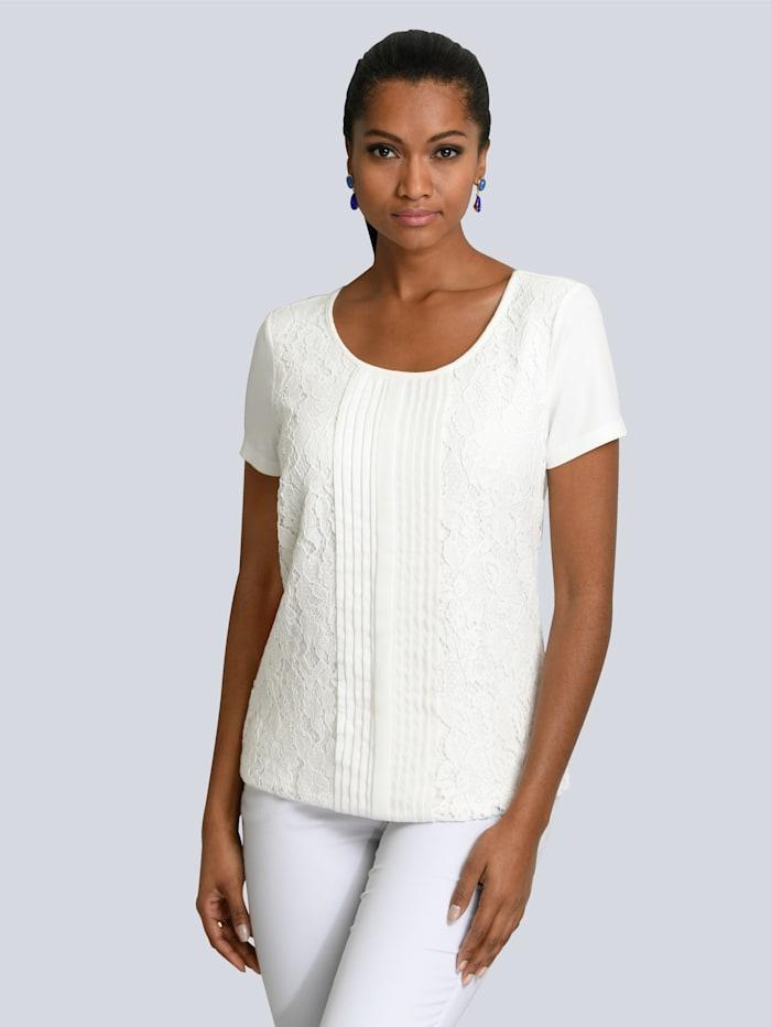 Alba Moda Shirt mit Spitzenbesatz im Vorderteil, Off-white