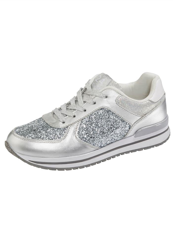 24 Hours Sneaker in edlem Materialmix, Silberfarben