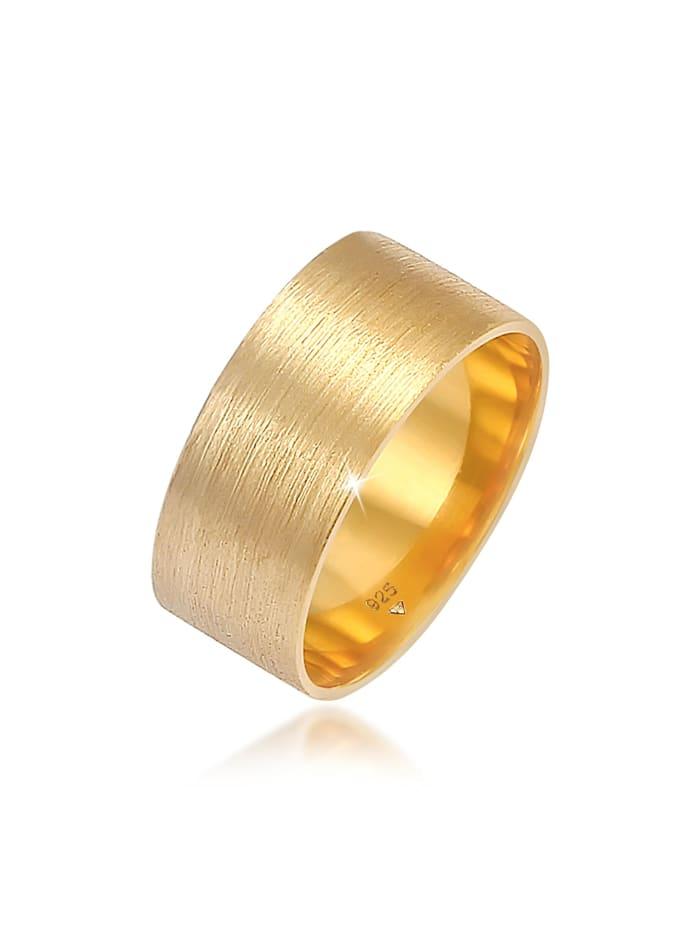 Elli Ring Bandring Breit Matt Gebürstet Basic 925 Silber, Gold
