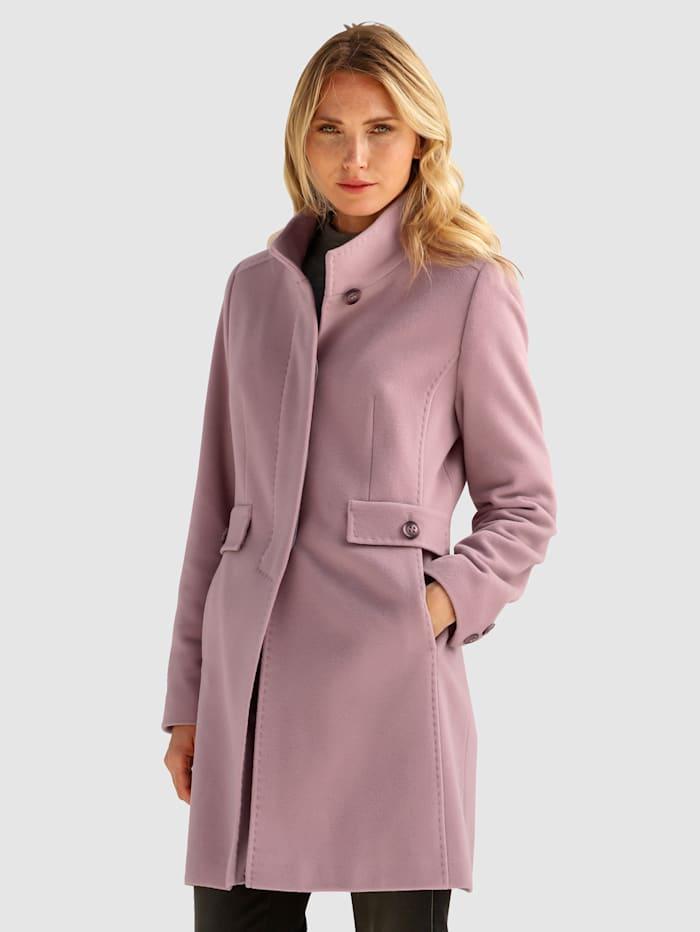Barbara Lebek Vlněný kabát s podílem kašmíru, Růžová