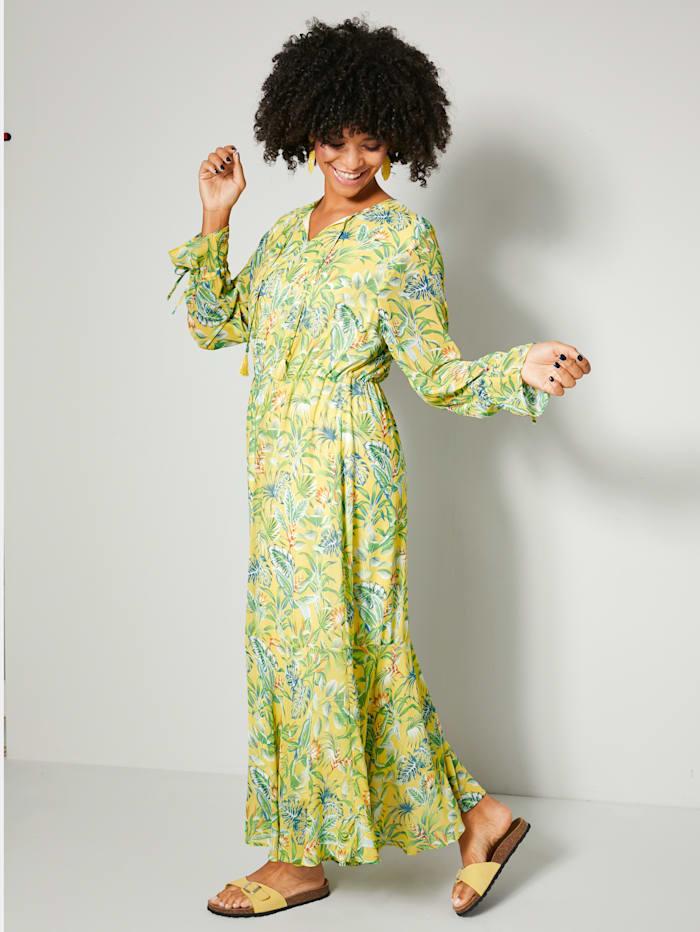Angel of Style Maxi-jurk met elastische band in de taille, Geel/Groen