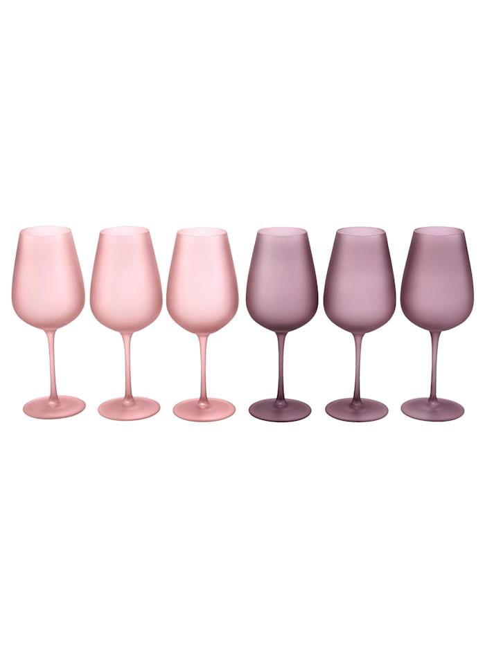 MARAVILLA Weinglas-Set, 6-tlg., rosé/bordeaux