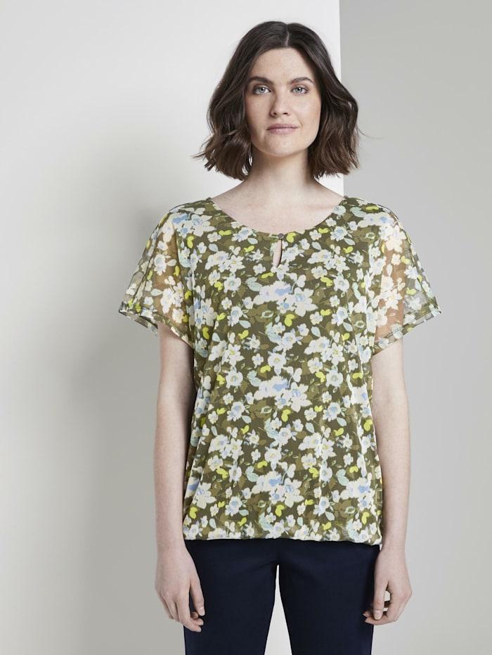 Tom Tailor Gemustertes T-Shirt mit Mesh-Overlayer, small khaki floral design