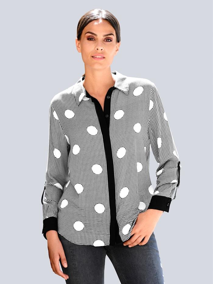 Alba Moda Blus med klädsam mönstermix, Svart/Vit