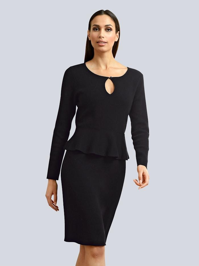 Alba Moda Strickkleid mit modischem Schößchen, Schwarz