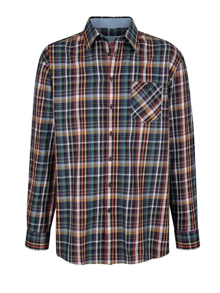 Roger Kent Overhemd met ingeweven ruitpatroon, Blauw/Multicolor