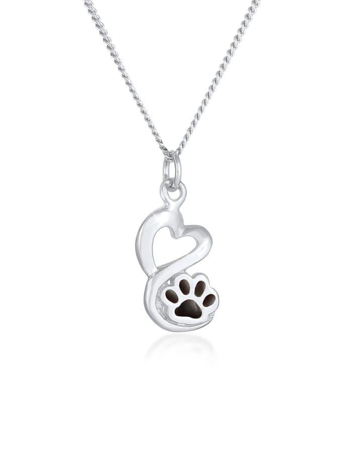 Nenalina Halskette Pfote Hund Katze Anhänger Emaille 925 Silber, Silber