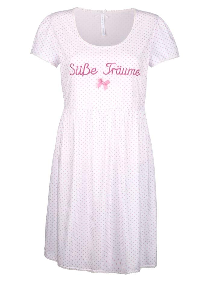 Louis & Louisa Nočná košeľa romantický Babydoll vzhľad, Biela/Ružová