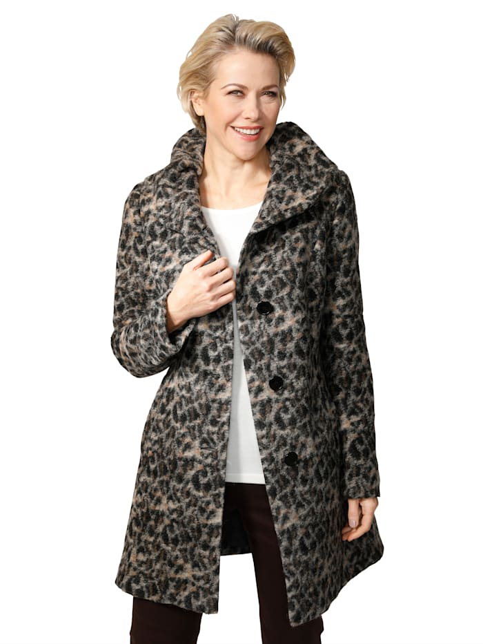 Veste en laine mélangée à motif léopard