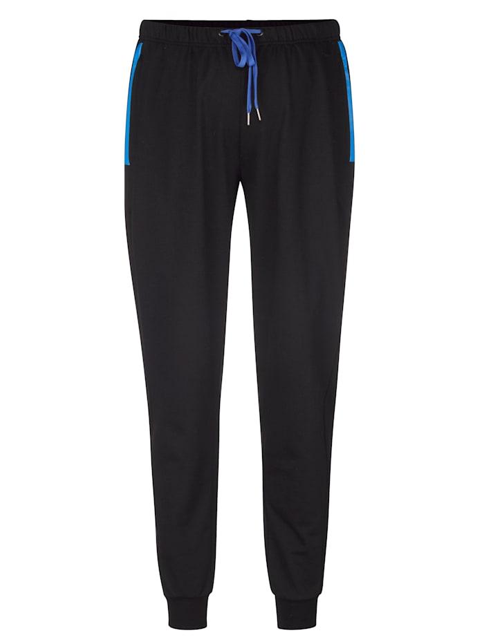 Men Plus Jogginghose mit Reißverschlusstaschen, Schwarz/Blau
