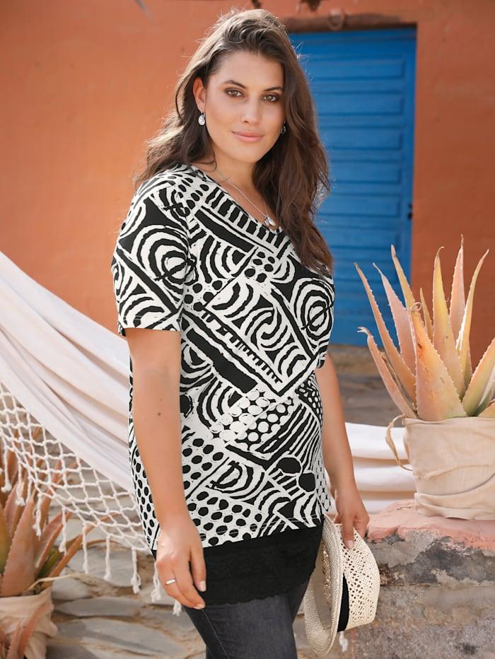 MIAMODA T-shirt avec motif graphique, Blanc/Noir