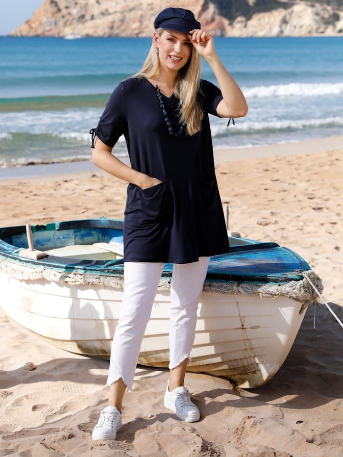 MIAMODA Longshirt mit streckendem V-Ausschnitt, Marineblau