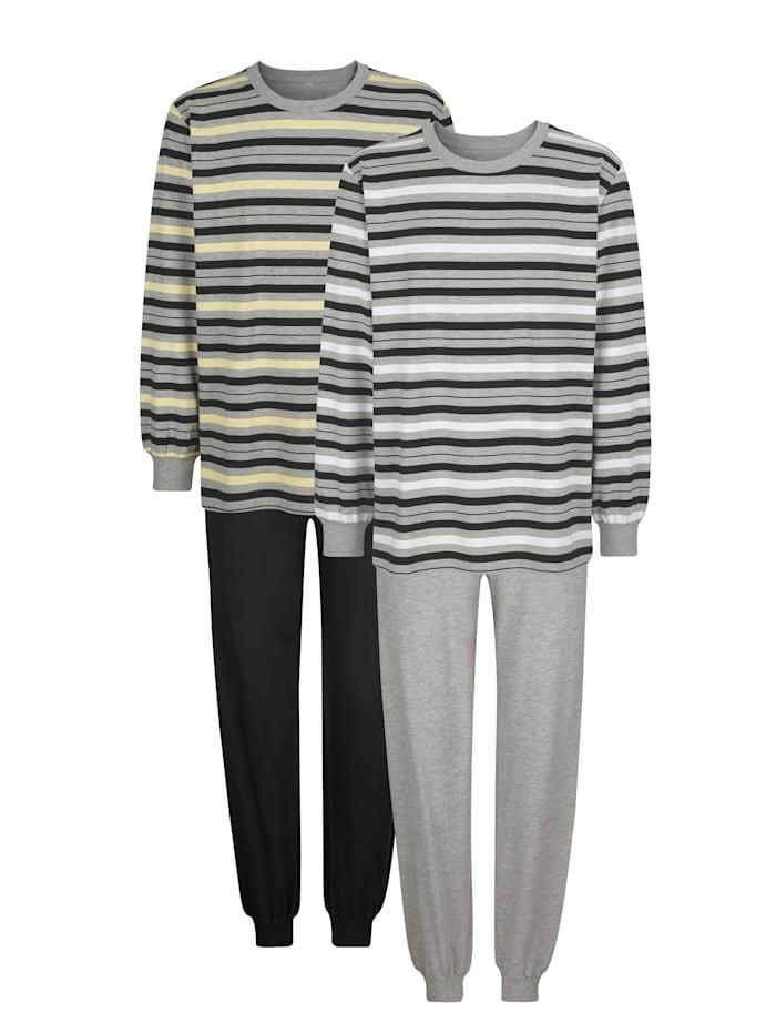 Roger Kent Pyjama's per 2 stuks, Grijs/Zwart