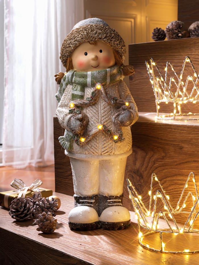 Tewa LED-Wintermädchen mit Stern, Creme-Weiß