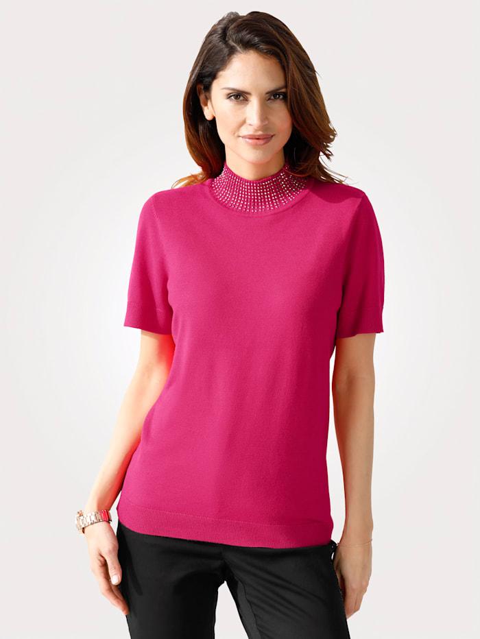 MONA Pullover dekoriertem Stehkragen, Pink