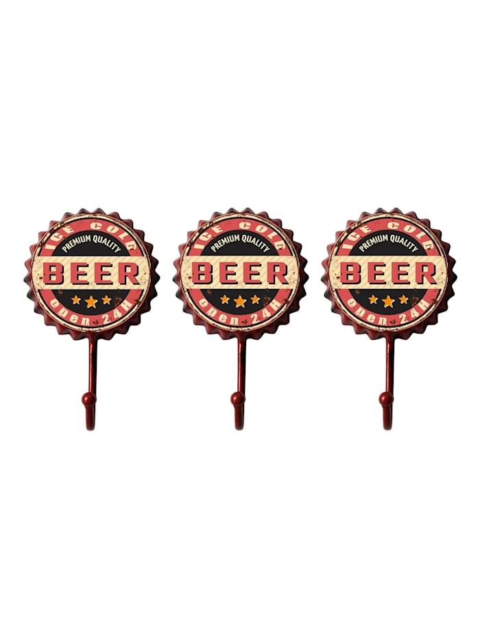 HTI-Line Garderobenhaken 3er Set Bier, Bunt