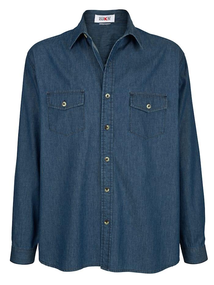 Roger Kent Chemise en jean à poches poitrine, Blue stone