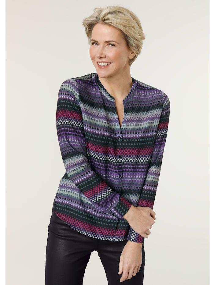 MONA Bluse mit effektvollem Farbverlauf, Fuchsia/Schwarz