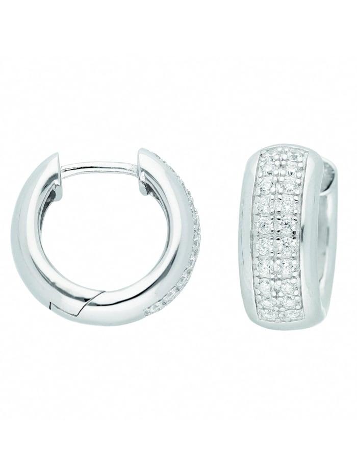 1001 Diamonds Damen Silberschmuck 925 Silber Ohrringe / Creolen mit Zirkonia Ø 17,3 mm, silber