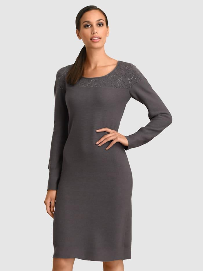 Alba Moda Kleid mit Strasssteinen am Ausschnitt, Anthrazit