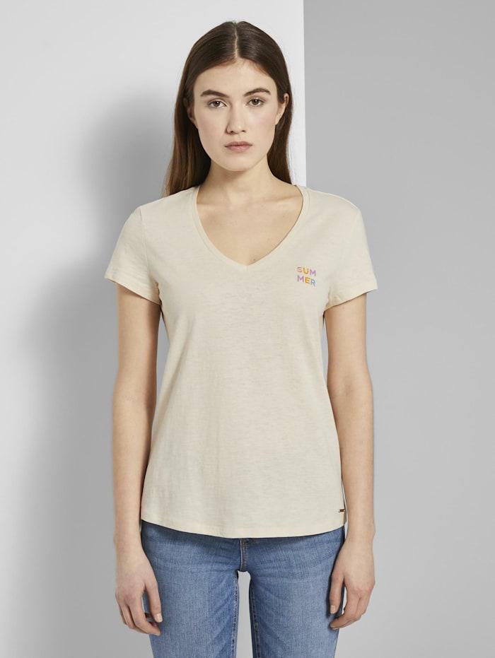 Tom Tailor Denim T-Shirt mit V-Ausschnitt, soft creme beige