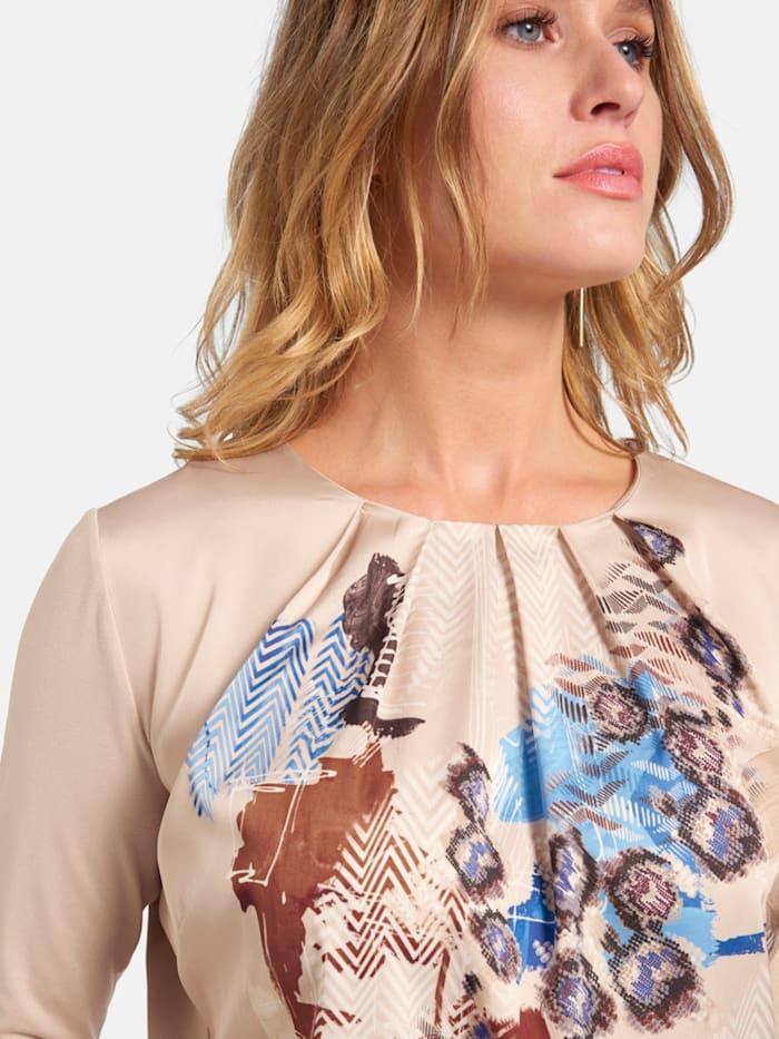 Shirt mit gewebtem Vorderteil und Raffungen