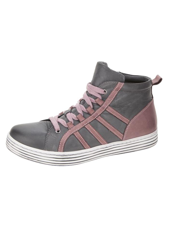 Gemini Sneaker met streeppatroon, Grijs/Roze