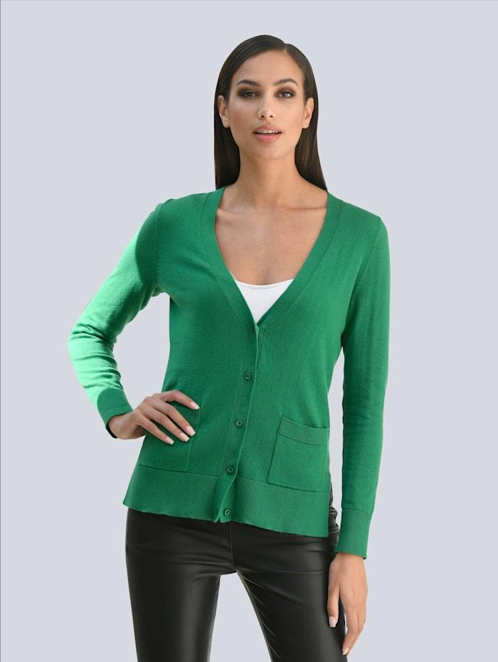 Alba Moda Strickjacke mit weiter Silhouette, Grün