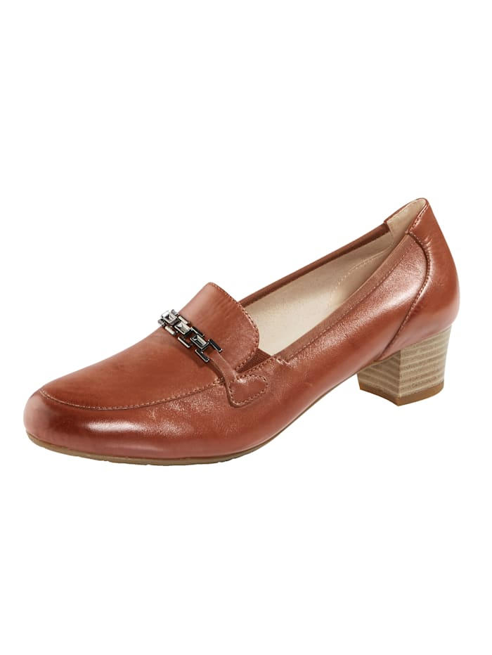 MONA Court shoes made from premium leather, Cognac