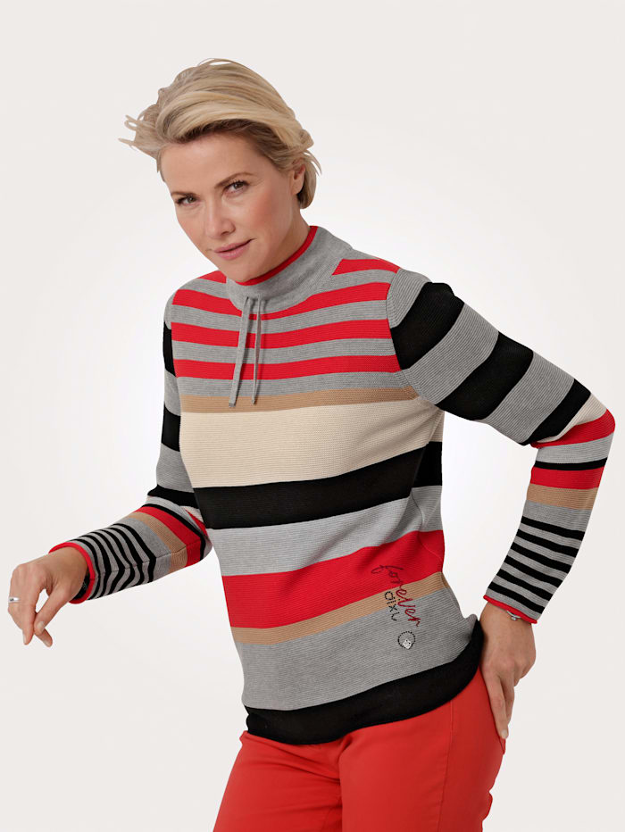 Rabe Pull-over, Gris/Rouge