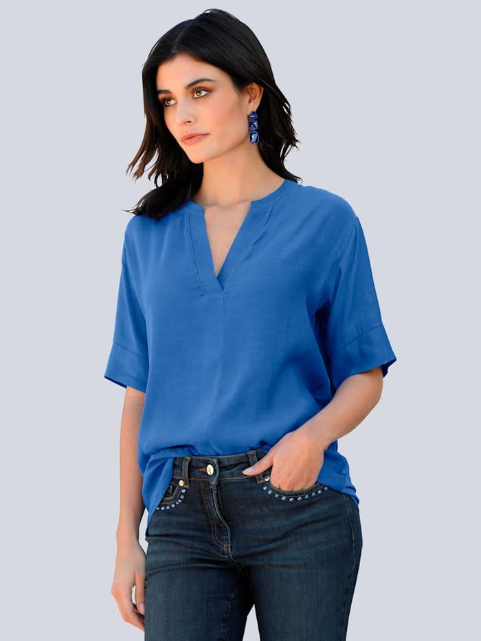 Alba Moda Shirt mit Schmuckkugelband am Ausschnitt, Royalblau