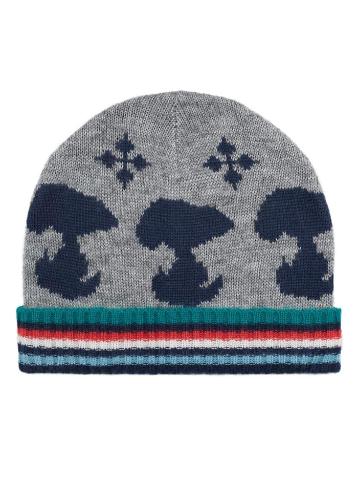 "Codello ""PEANUTS"" Feinstrick-Mütze mit Snoopy-Motiven, grey"